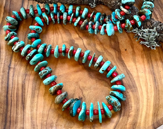 Natural Turquoise Strand - Baby Blue - with Red Glass Beads