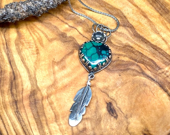 Turquoise Heart with Flower and Teensy Feather Pendant