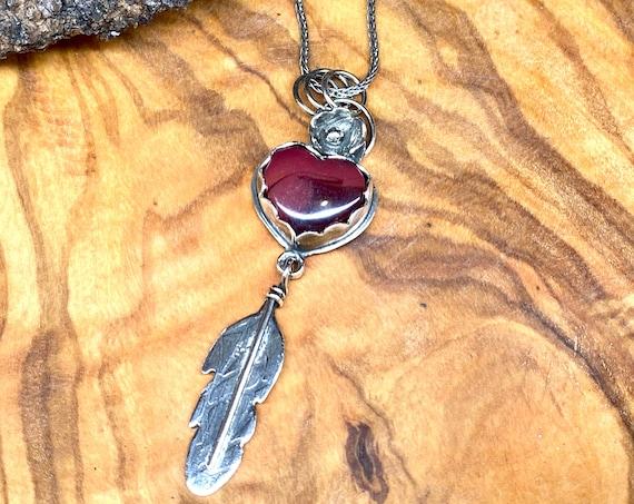 Rosarita Heart with Teensy Feather Pendant