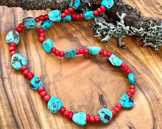 Turquoise beaded necklace with Red glass beads and sterling silver components
