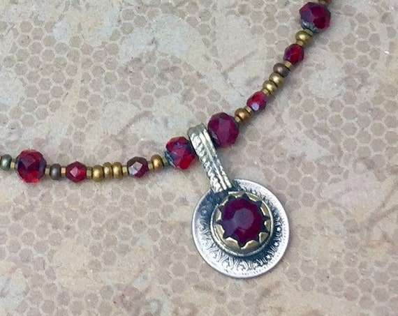 Vintage Kuchi Coin Necklace with original glass centerpiece and glass bead necklace