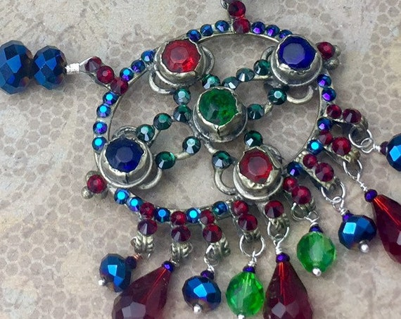 Vintage Kuchi Necklace Set with original glass gems, Swarovski Crystal, and Jewel Tone Glass Beads OOAK