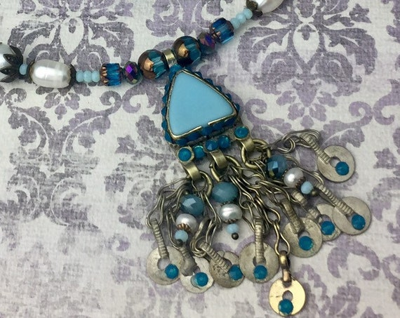 Vintage Kuchi Necklace with original glass centerpiece, handmade chain and brass drops OOAK