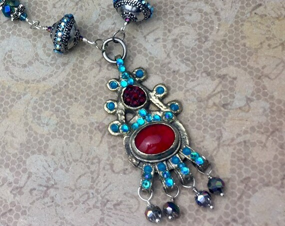 Vintage Kuchi Necklace with original red glass center stone and Swarovski crystals OOAK