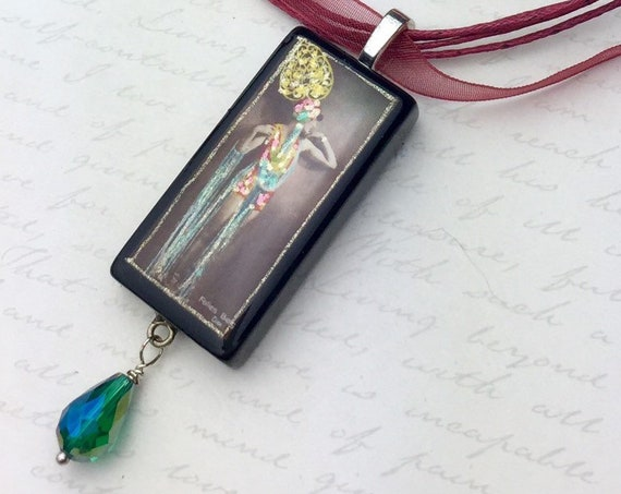 Turn of the Century Burlesque Performer Domino Pendant