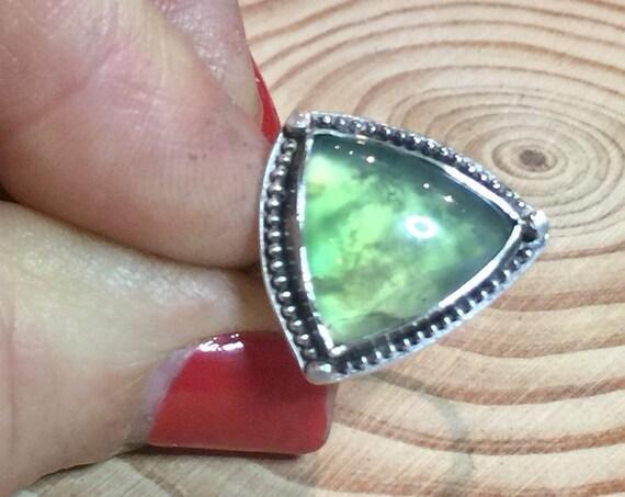 Gemmy Aegean Green Opal in antiqued sterling silver - Size 7 3/4
