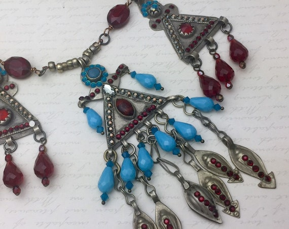 Vintage Kuchi Necklace with original glass gems, Swarovski Crystal, and Jewel Tone Glass Beads OOAK