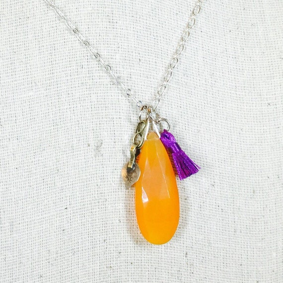 Carnelian pendant with vintage Kuchi tribal charm and teensy purple tassel