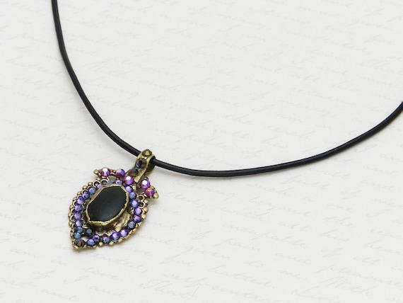 Vintage Kuchi Necklace with original dark glass centerpiece - embellished with sparkly purple Swarovski crystals