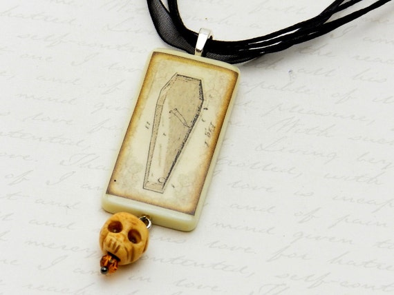 Gothic coffin necklace with skull bead - white domino necklace