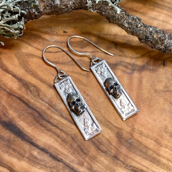 Petite Gothic Skull earrings in fine and sterling silver