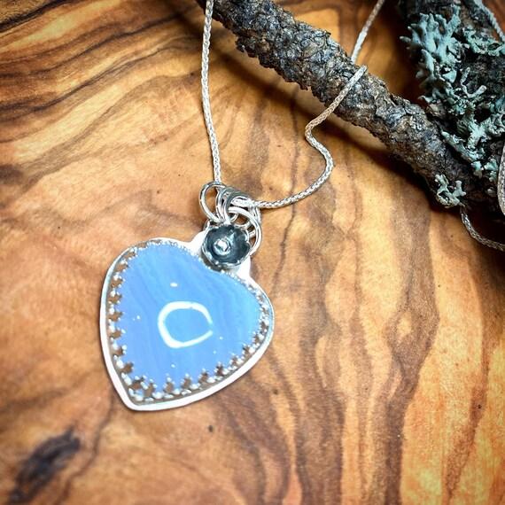 Blue Lace Agate Heart Pendant
