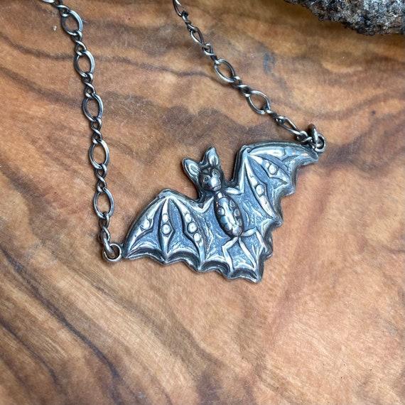 Victorian Soaring Bat Silver Pendant