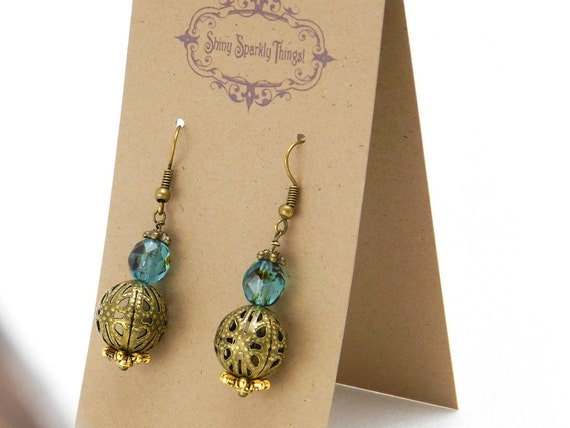 Marbled blue/black glass bead earrings with filigree - special holiday price!  gifts under 10