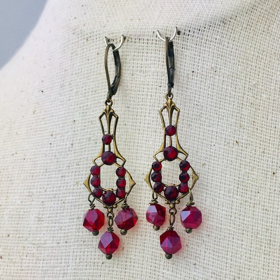 Romantic Victorian style crystal clear Swarovski crystal earrings in brass filigree