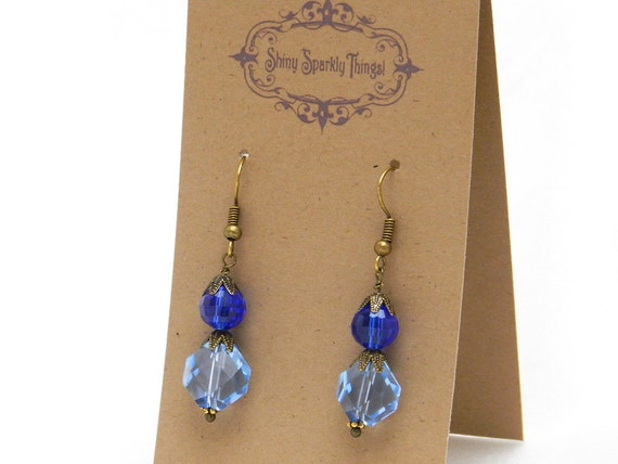 Light and Bright Blue glass bead earrings with filigree - special holiday price!  gifts under 10