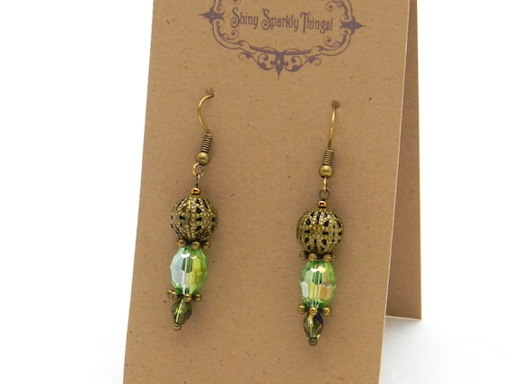 Gifts under 10 - Pretty little glass bead earrings with filigree - special holiday price!  SST3105