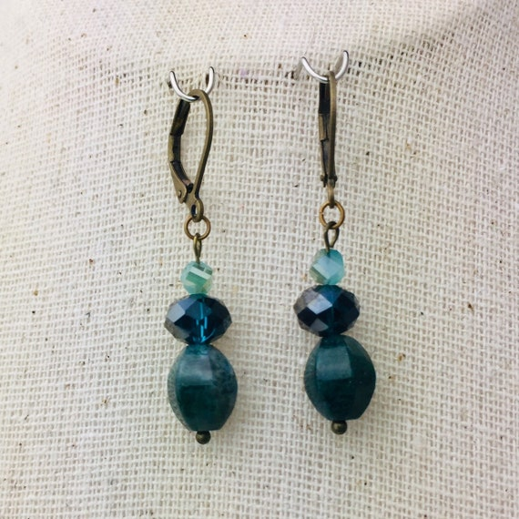 Pretty teal earrings with glass beads and bronze - special holiday price!  gifts under 10