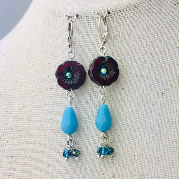Red glass flower and turquoise glass bead earrings