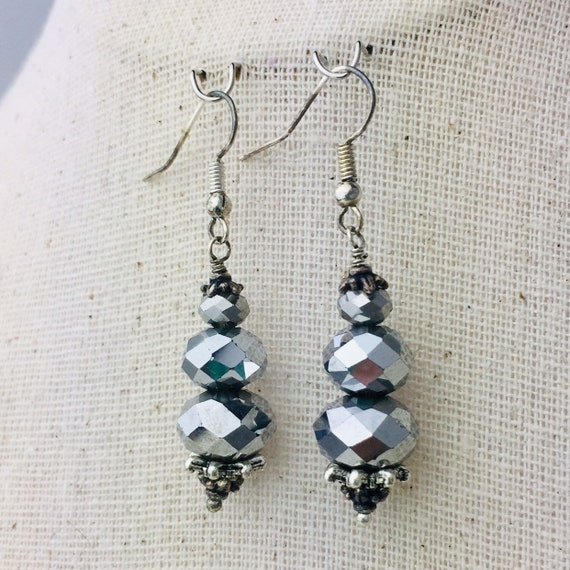 Metallic Silver glass bead earrings - special holiday price!  gifts under 10