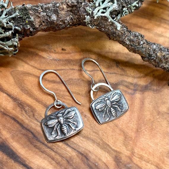 Sweetest little bee earrings in fine and sterling silver