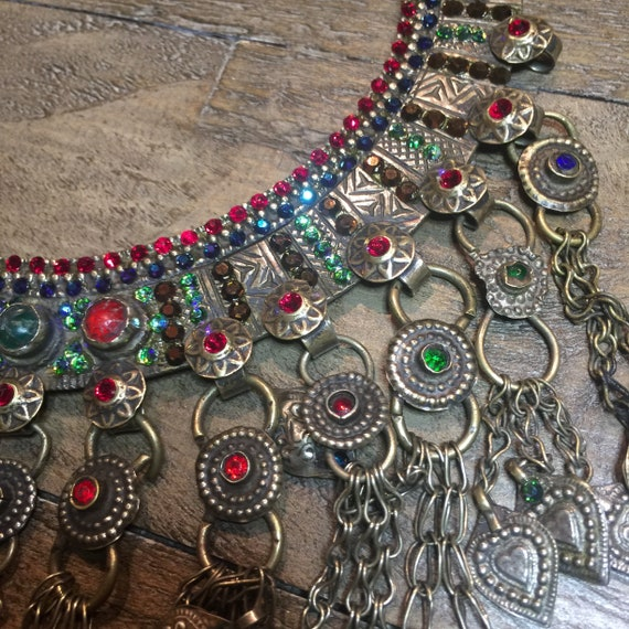 Vintage Tribal Kuchi Torq Necklace - Swarovski Crystallized Collar