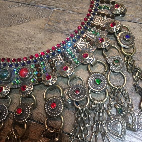 Vintage Tribal Kuchi Torq Necklace - Swarovski Crystallized Collar