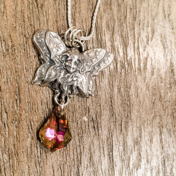 "Silver Butterfly Faerie with Swarovski Crystal Drop on 18"" Sterling Silver chain"