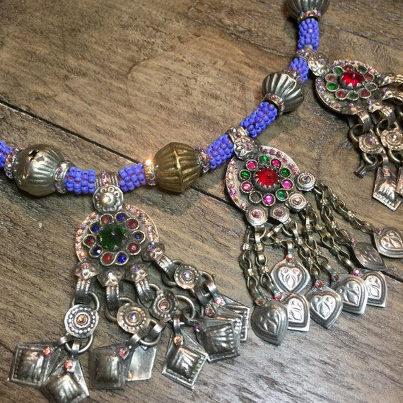 Vintage Kuchi Necklace with original stones, Swarovski Crystal, and periwinkle blue glass beads