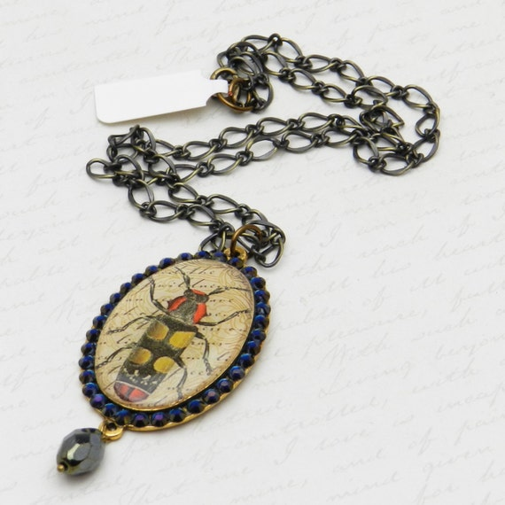 Victorian Beetle Pendant with Swarovski Crystals on oxidized brass-plated mounting JF1077