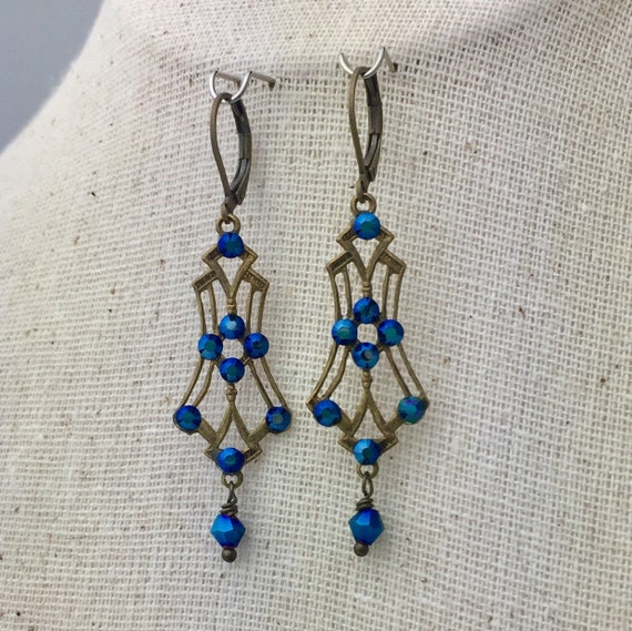 Romantic Victorian style deep blue Swarovski crystal earrings in brass filigree