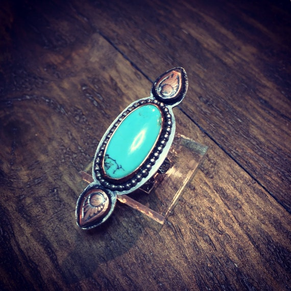 Baja Turquoise in Sterling Silver with Copper Accents - Size 8 1/4