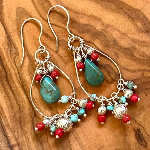 Turquoise Earrings in Sterling Silver with turquoise and red glass bead accents