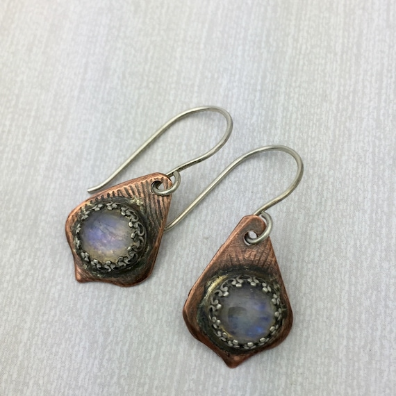 Moonstone earrings in Copper with Sterling silver