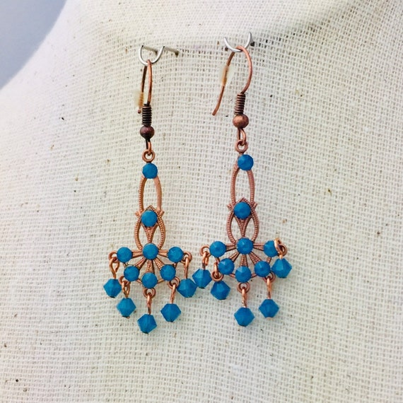 Romantic Victorian style blue opal Swarovski crystal earrings in oxidized copper filigree