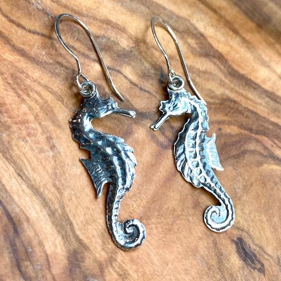 Lightweight Seahorse drop earrings in silver