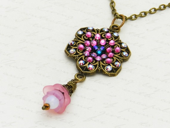 Pretty pink Swarovski crystal necklace with bronze filigree and pink flower drop - super sparkly happiness!