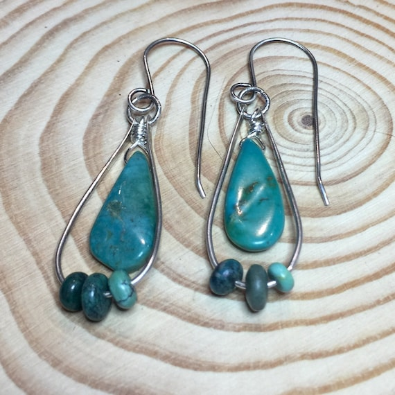 Turquoise Earrings in Sterling Silver with turquoise bead accents