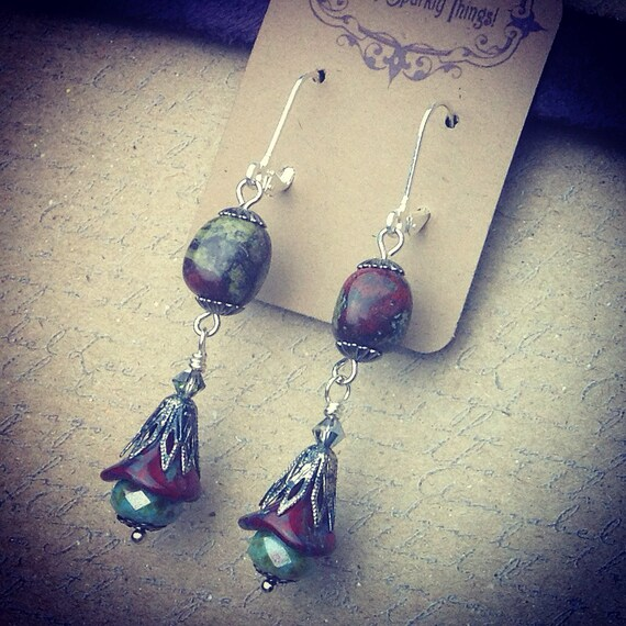 Romantic and Earthy Picasso Glass Bead Flowers and Agate Accent Earrings in Silver-tone