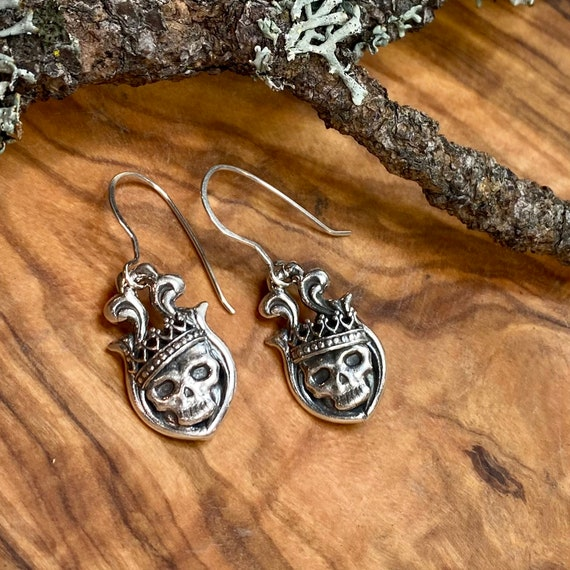 Gothic Crowned Skull earrings in fine and sterling silver