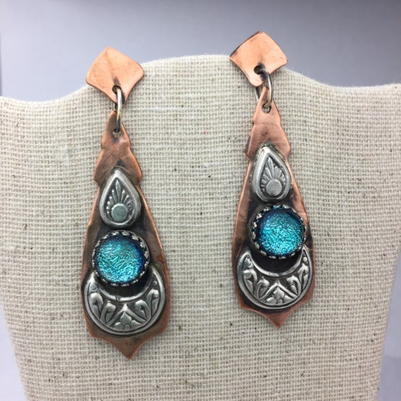 Super Sparkly Blue Dichroic Glass earrings in copper and silver