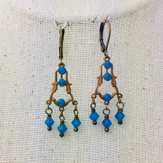 Romantic Victorian style blue opal Swarovski crystal earrings in brass filigree