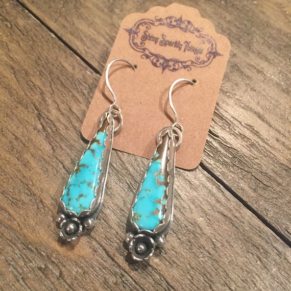Number 8 Mine Turquoise Earrings in Silver with flower accent