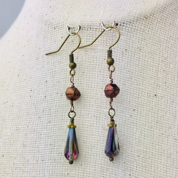 Irridescent Bronze Glass bead earrings - special holiday price!  gifts under 10