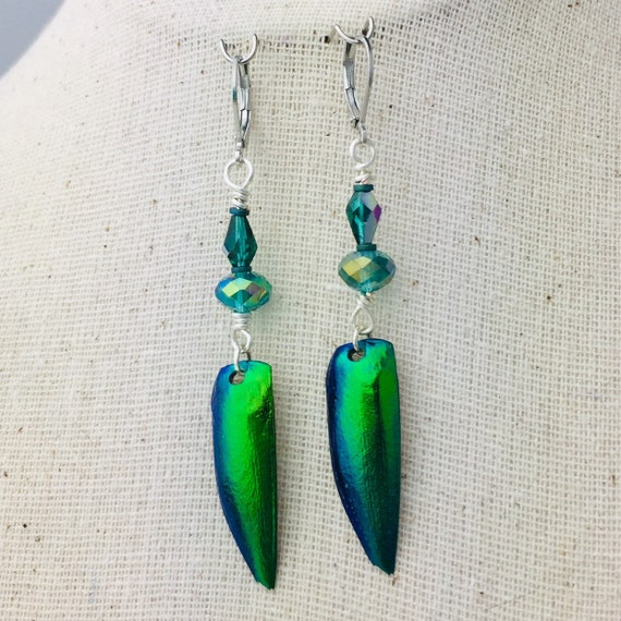 Beetle wing and glass bead earrings in silver-tone