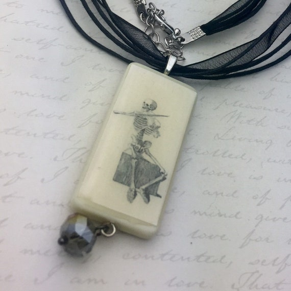 Vintage Skeleton Playing Violin Image Domino Pendant
