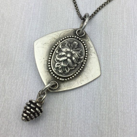 Green Man with Pine Cone Drop Silver Necklace