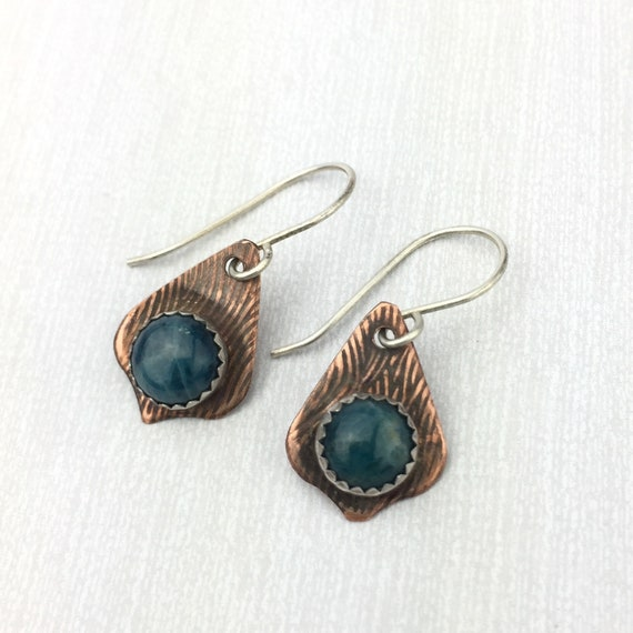 Blue Apatite earrings in Copper with Sterling silver
