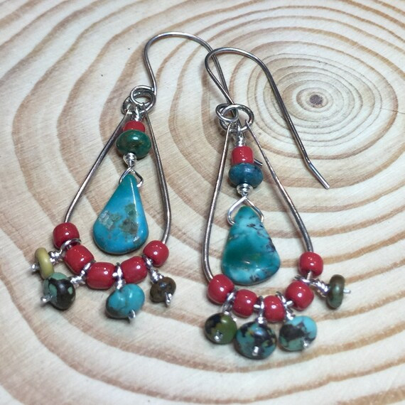 Turquoise Earrings in Sterling Silver with red glass bead accents
