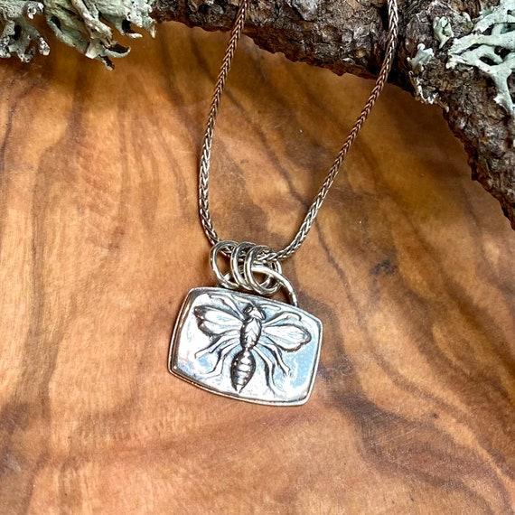 Sweet little bee pendant in fine silver